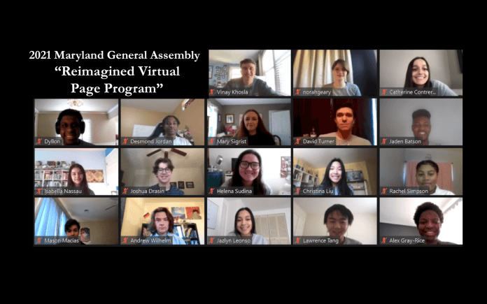 """2021 Maryland General Assembly """"Reimagined Virtual Page Program"""""""