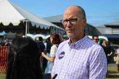 Former Democratic National Committee Chair Tom Perez (D) addresses the press at the 2021 J. Millard Tawes Crab and Clam Bake. Photo by Hannah Gaskill.