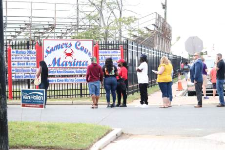 A line forms to enter Somers Cove Marina for the 2021 J. Millard Tawes Clam Bake and Crab Feast, postponed from late July because of the COVID-19 pandemic. Photo by Danielle E. Gaines.
