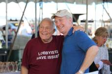 Lobbyist Bruce Bereano and U.S. Sen. Chris Van Hollen (D) pose for a photo during the 2021 J. Millard Tawes Crab and Clam Bake. Photo by Danielle E. Gaines.