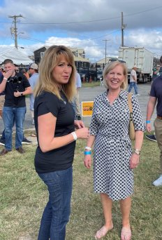 Commerce Secretary and Republican gubernatorial hopeful Kelly Schulz and Maryland Chamber of Commerce President Mary Kane chat at the J. Millard Tawes Clam Bake and Crab Feast in Crisfield, Photo by Bruce DePuyt.