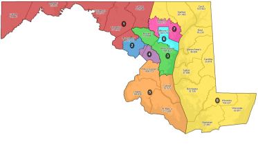 A draft congressional map drawn up by the Maryland Citizens Redistricting Commission at their Thursday, Sept. 9 hearing. This map is not meant to reflect the commission's final plan, but serve as a base for public reaction. Provided by the Maryland Citizens Redistricting Commission.