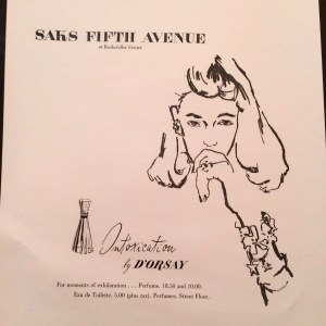 Thinking of Frannie, my mother and subject of much attention in <em>Fighter Pilot's Daughter</em>, sketched here in a Saks ad for Intoxication perfume in 1945, when she worked in their advertising department.