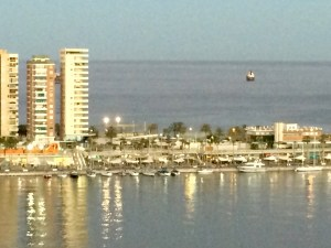 Port of Malaga, east side close to sunset