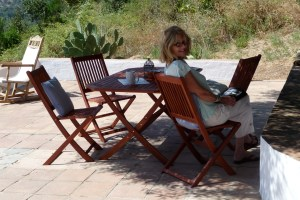 Relaxing on a summer morning at the finca in Gaucin