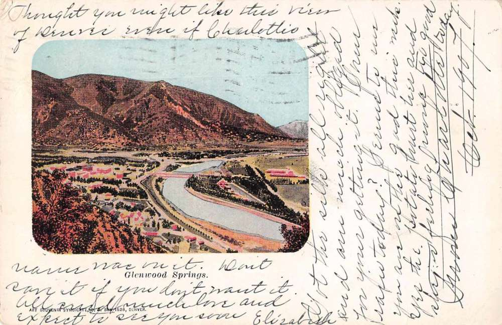 Glenwood Springs Colorado Aerial View Antique Postcard