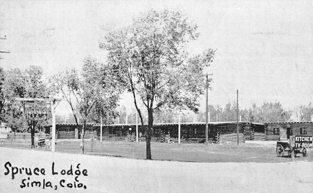 Simla Colorado Spruce Lodge Street View Antique Postcard