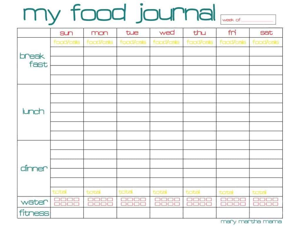 Free Food Journal Printable Healthy Mama Week 29 Mary
