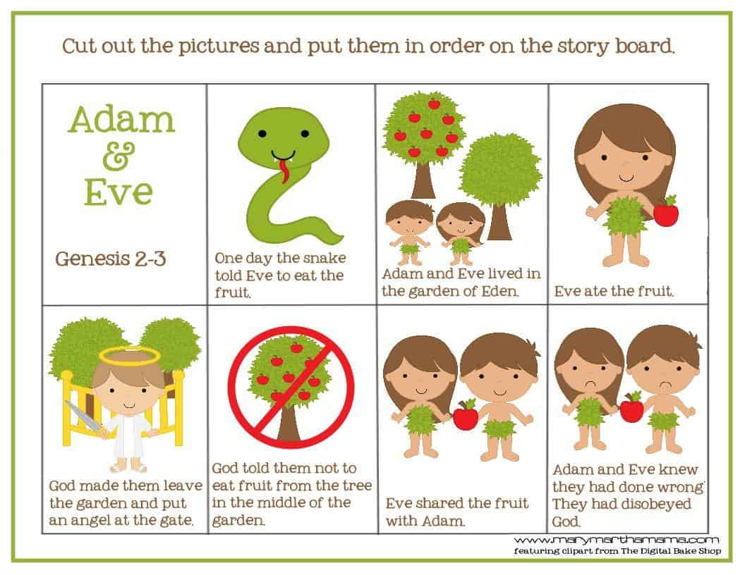 Adam Amp Eve Story For Kids Free Printable Activities