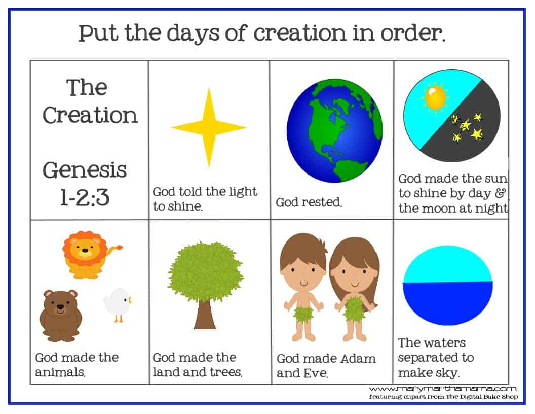 Creation Bible Story For Preschoolers Activity Pack Mary
