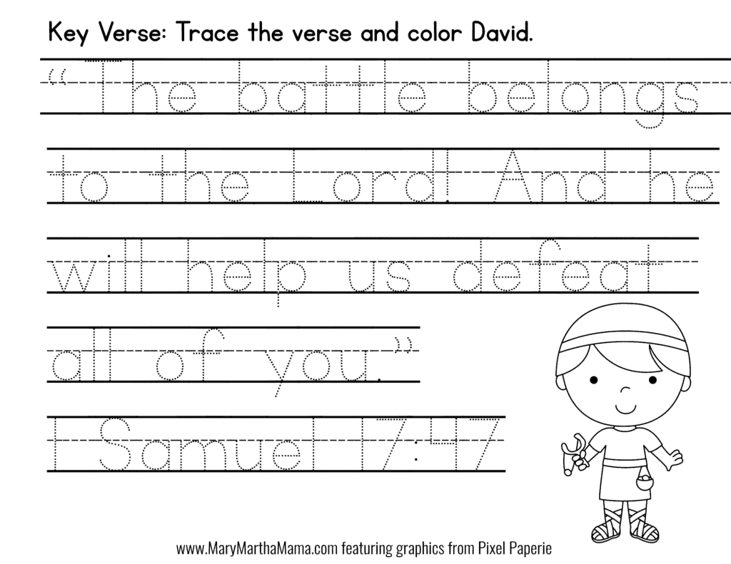 David And Goliath Activities Free Printables Mary