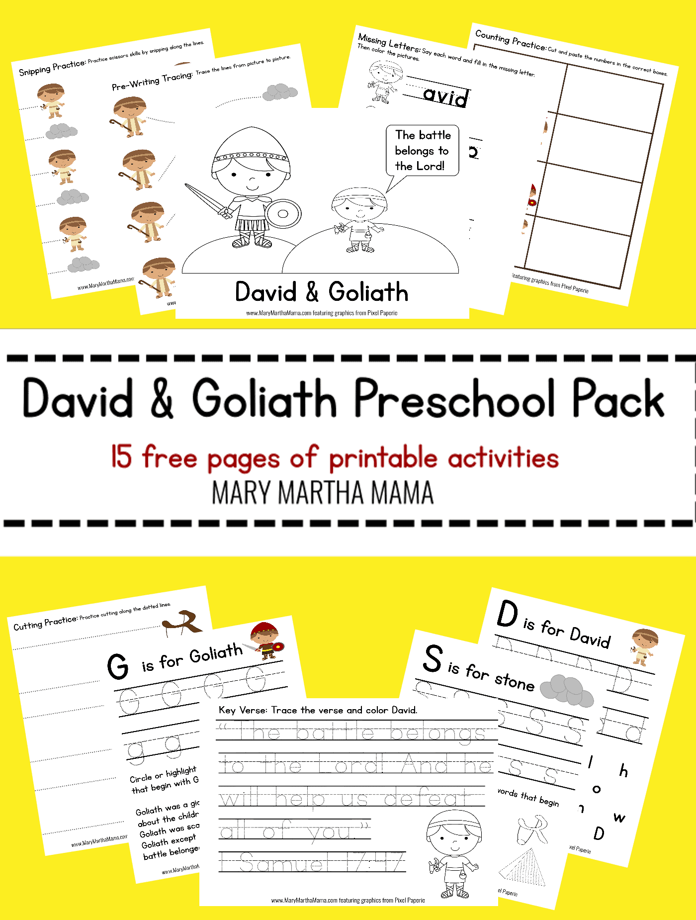 David Amp Goliath Prek Pack Free Mini Pack Mary Martha Mama