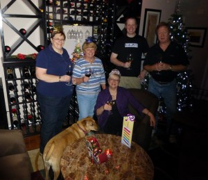 First order of business - celebrate my birthday l. to r. Phyllis, Peggy, Mary, Andy and Gary with Lacey the dog