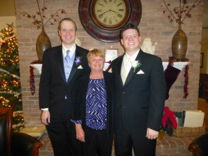 Peggy with Andy and Mike on the day of the wedding