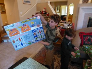 Nathan and Sam open presents