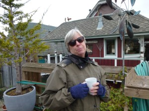 Eileen with a cup of tea