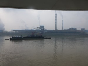 A view of a coal barge on the river