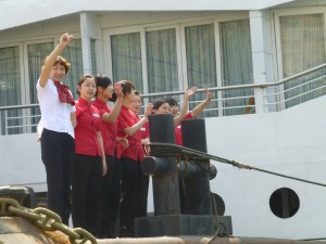 Headed by Lois, the bar manager, we are waved off our boat to the smaller excursion boats
