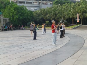 People doing Tai Chi at the zoo