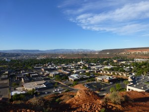 A almost birds-eye-view of St. George. The churchy looking place is the Mormon Cathedral.