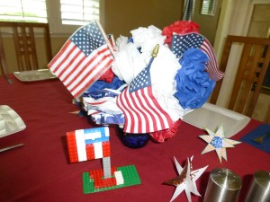Our Labor Day table decorations that the kids made.