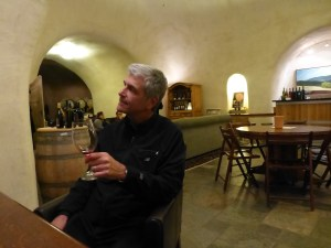 John in the Deerfield Ranch Winery tasting room/cave
