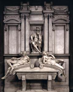 Lorenzo Medici's tomb with three Michelangelo sculptures (Figures of Dawn and Dusk and idealized Lorenzo)