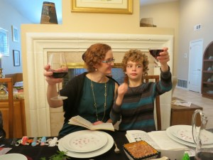 Nathan raises his glass with Mommy