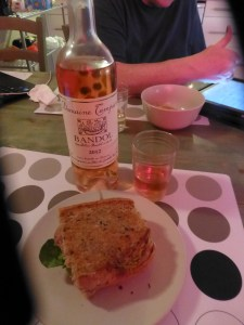 Dinner of panini and rose wine