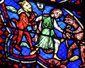 All men have to struggle with devils (13th century stained glass)