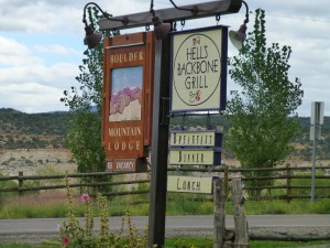 Signposts for the Boulder Mountain Lodge