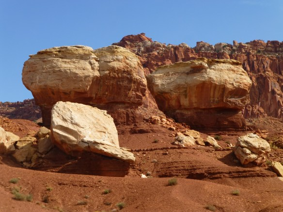 Twin Rocks - the two on the left look like they are gossiping about the one on the right who is yelling