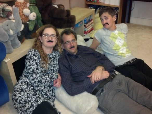 Ryan, Jonathan and Leigh sporting mustaches