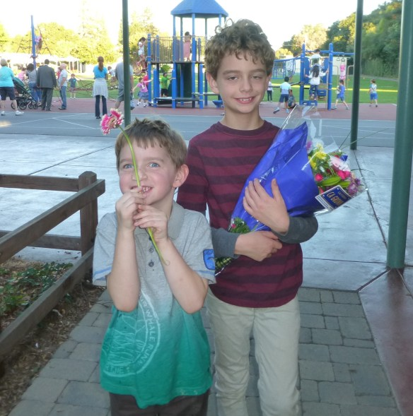 Nathan receives flowers for his performance and shares one with Sam