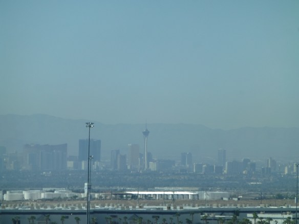We leave for home on October 16. We are catching our first view of Las Vegas as we head south down I-15. The air in Las Vegas is hazy as usual.