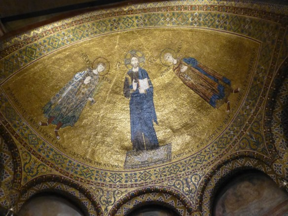 Mosaic of Christ flanked by St. Justus on the left and St. Servilo on the right