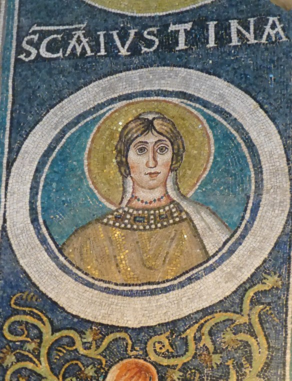 There's also an arch dedicated to female martyrs. This is the mosaic of St. Justina