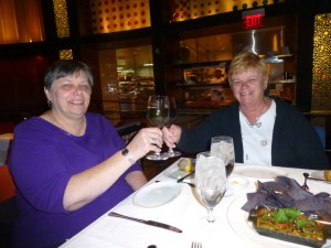 Phyllis and Peg toasting the kickoff to our Sisters' Weekend