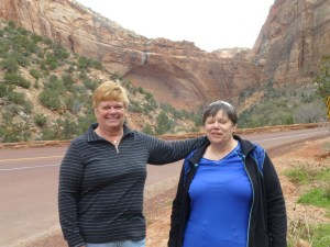 Phyllis and Peg near the Great Arch of Zion