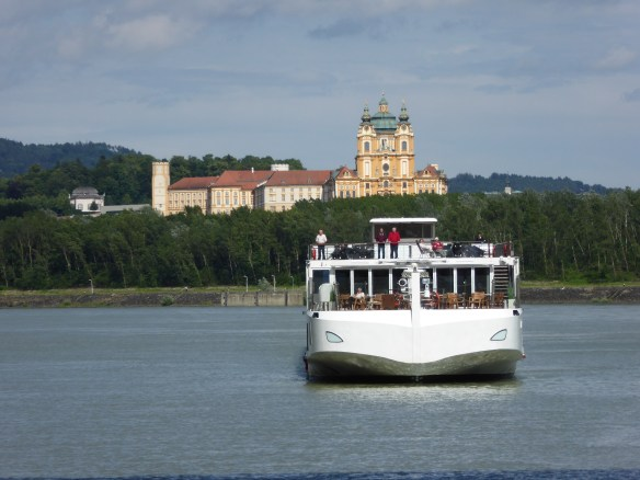 Viking ship with Melk Abbey in background