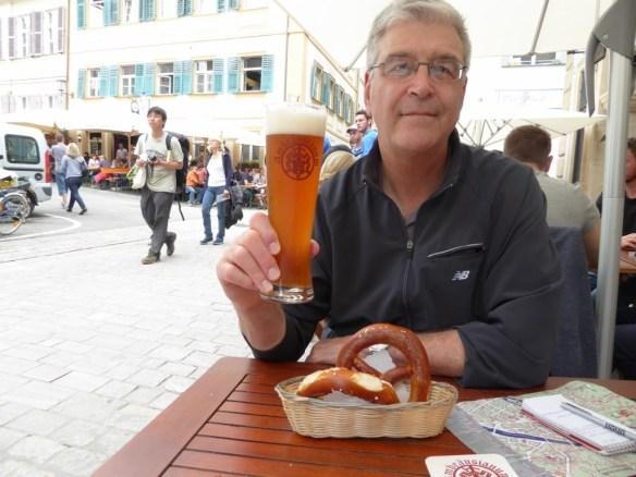 John, beer, and pretzels