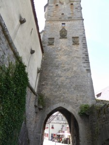 Entering Rothenburg through one of the old wall gates