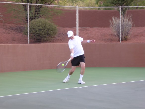 Here's John about to hit a forehand