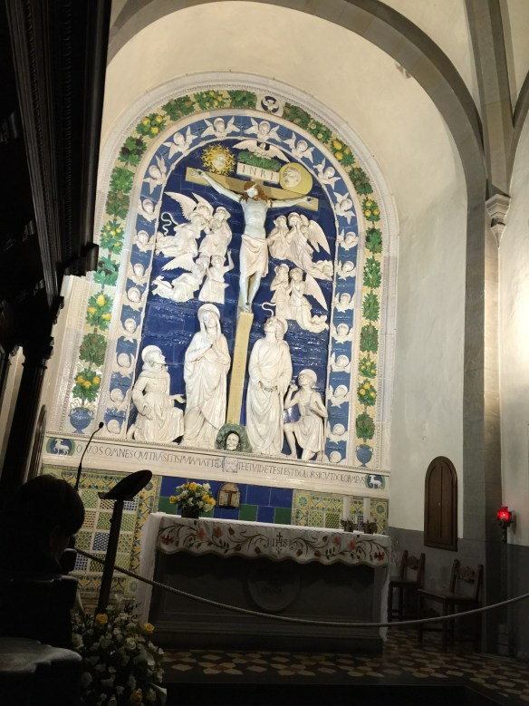 della Robbia ceramic sculpture where St. Francis received the stigmata
