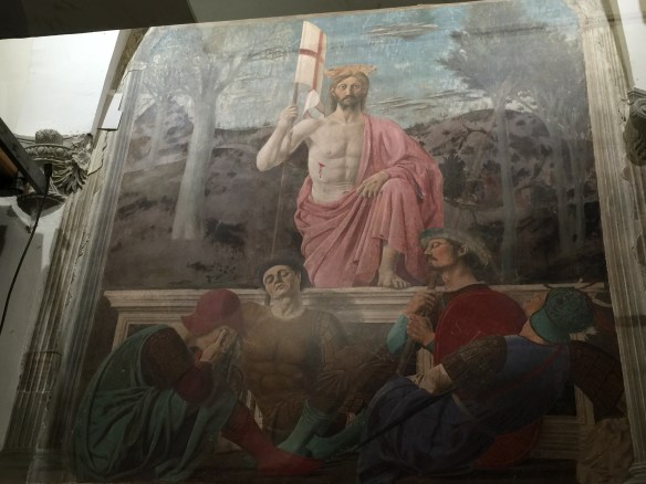 """This PDF fresco of the Resurrection is currently being restored. The fresco has become the symbol of Sanspolrco or """"holy sepulchre."""""""