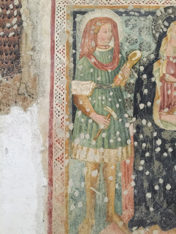 Fresco of St. Eligius holding a horse leg and farrier's tools