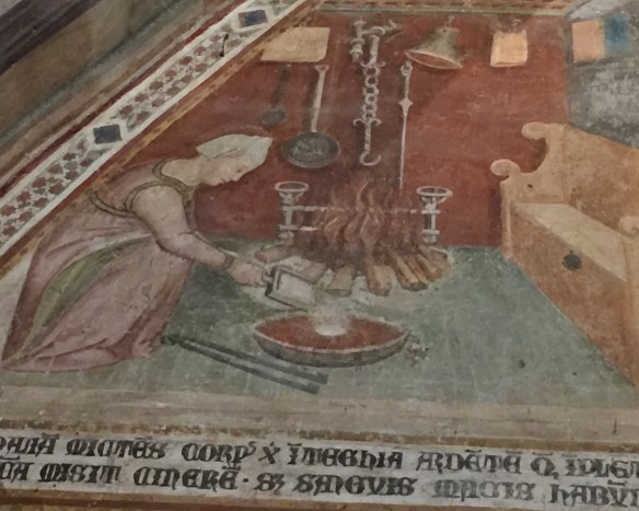 I took a picture of this fresco because it shows a 14th century kitchen