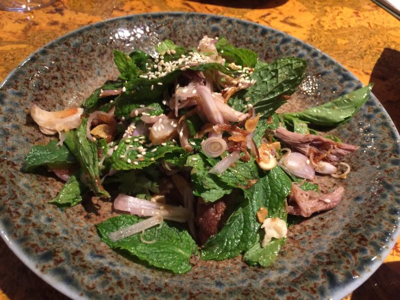 Duck salad with mint, fried shallot, and lychee