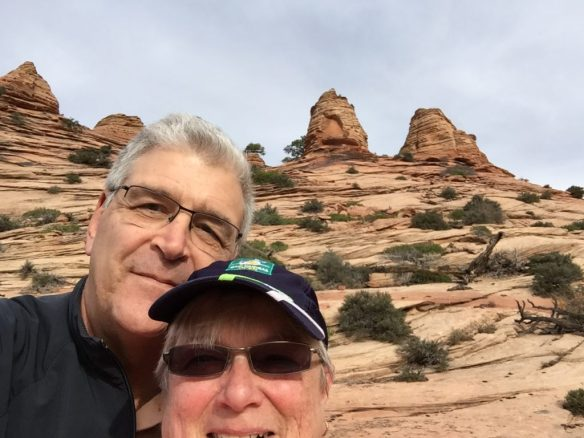 Mary and John silly selfie in the slickrock