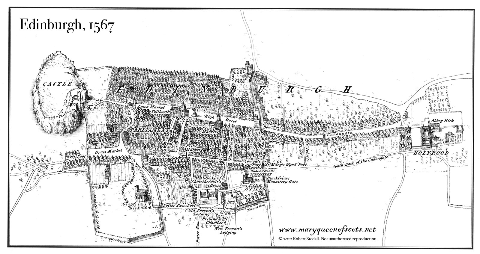 Worksheet. A map of the city of Edinburgh from the time of Mary Queen of